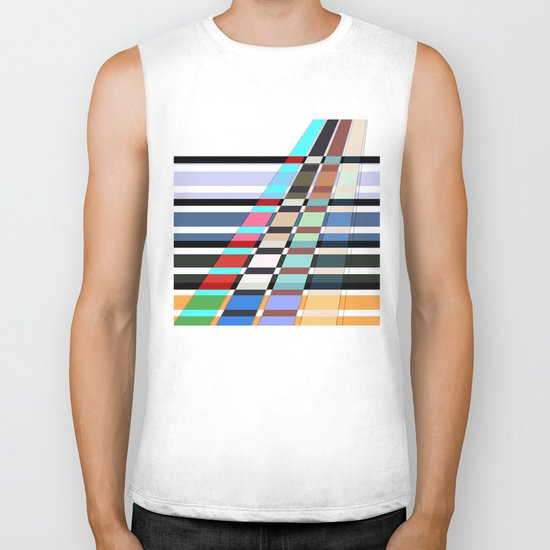 Colorful oblique lines . Abstract pattern 2 . Biker Tank