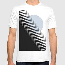 Rising Sun Minimal Japanese Abstract White Black Blue T-shirt