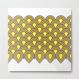 retro sixties inspired fan pattern in yellow and violet Metal Print