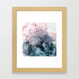 Blush and Paynes Gray Flowing Abstract Reflect Framed Art Print