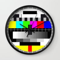 tv Wall Clocks featuring TV by Les Hameçons Cibles