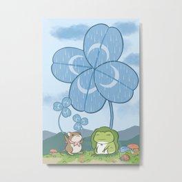 Frog In Rain Day Metal Print