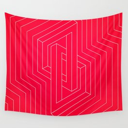 Modern minimal Line Art / Geometric Optical Illusion - Red Version  Wall Tapestry