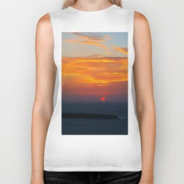Sunset in Oia Santorini cv Biker Tank