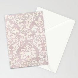 Beige Shabby Damask Pattern Stationery Cards