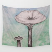 mushrooms Wall Tapestries featuring mushrooms by Diane Nicholson