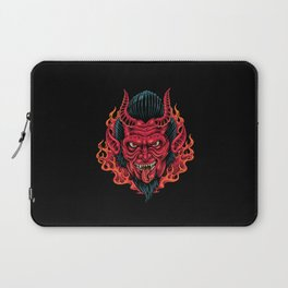 The Red Demon Head Devil detailed scary drawing Laptop Sleeve