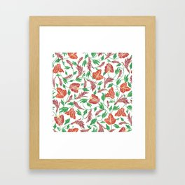 Rust red tropical flowers pattern Framed Art Print