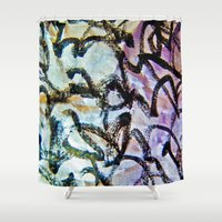 calligraphy Shower Curtains featuring Imaginary Calligraphy by Blank & Vøid