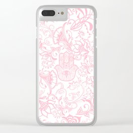 Pastel pink white henna hamsa Hand of Fatima floral mandala Clear iPhone Case