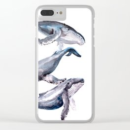 Humpback Whales, three whales illustration Clear iPhone Case