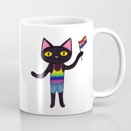 Pride Flag Black Cat Coffee Mug