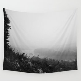 Hazey River Valley (black and white version) Wall Tapestry