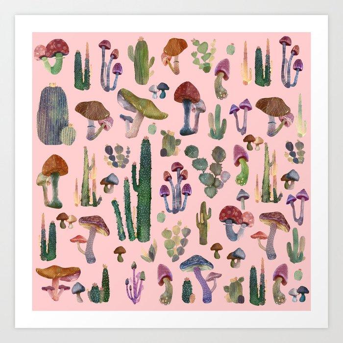 cactus and mushrooms II!! Art Print