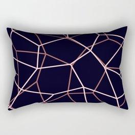 Geometric Architectural Pattern in Pink, Black, & Brown Rectangular Pillow