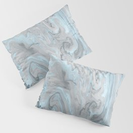 Ice Blue and Gray Marble Pillow Sham