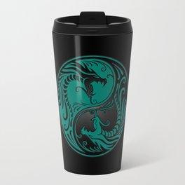Teal Blue and Black Yin Yang Dragons Travel Mug