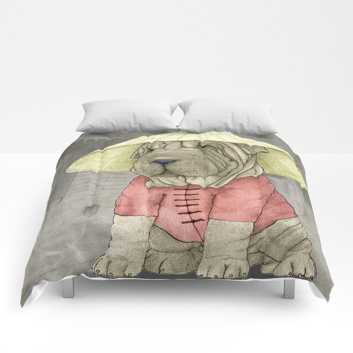 Shar Pei on the Great Wall Comforters