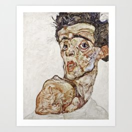Egon Schiele - Self Portrait With Raised Bare Shoulder Art Print