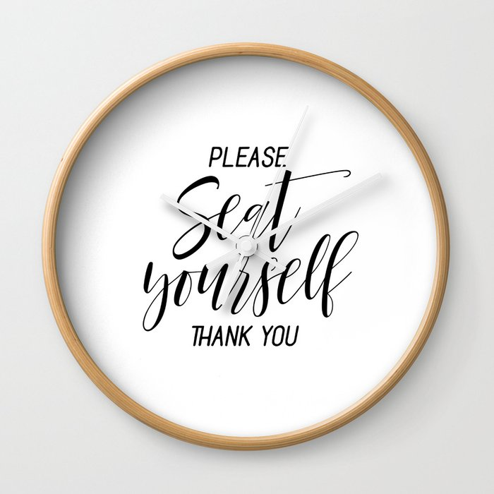 Printable Please Seat Yourself Thank You Wall Art, Funny Bathroom Wall Art Prints Wall Clock