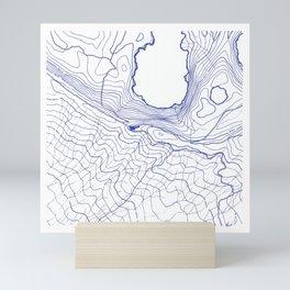 Secret places II - handmade blue map Mini Art Print
