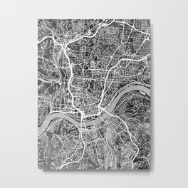 Cincinnati Ohio City Map Metal Print
