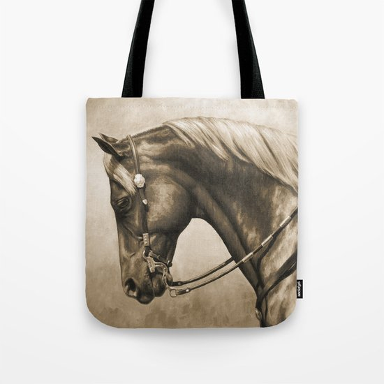 Western Quarter Horse Old Photo Effect Tote Bag