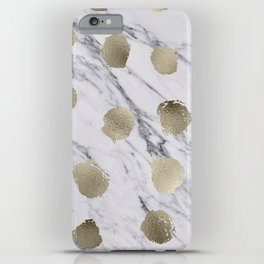 Golden dots on marble iPhone Case