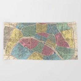 Vintage Map of Paris France (1863) Beach Towel