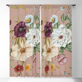 Colorful Wildflower Bouquet on Pink Blackout Curtain