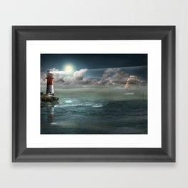 Lighthouse Under Back Light Framed Art Print