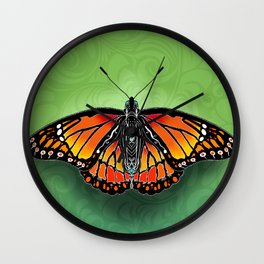 Monarch with Green Swirl Background Wall Clock