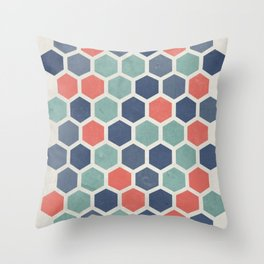 Honeycomb Geometrics, Vintage, Throw-Pillows, Art-Prints Throw Pillow
