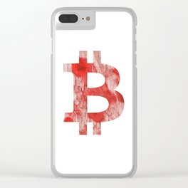 Bitcoin Red Pink streaked wash drawing Clear iPhone Case
