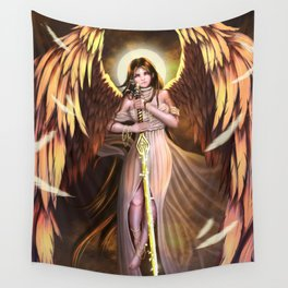 Golden Wings Angel Wall Tapestry