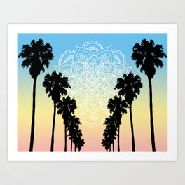 Palm Tree Sunset Mandala Art Print