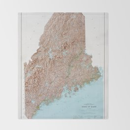 State of Maine Map (1977) Throw Blanket