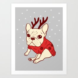 Cream Frenchie in Christmas Sweater Art Print
