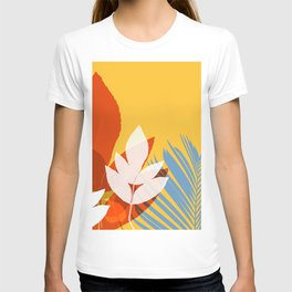 Leaves silhouette in orange and red T-shirt