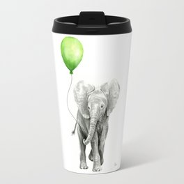 Baby Elephant Watercolor Green Balloon Neutral Color Nursery Decor Travel Mug