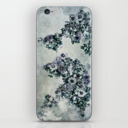 world map floral black and white iPhone Skin
