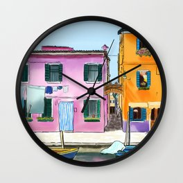 Colorful Houses in Italy Wall Clock
