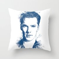 cumberbatch Throw Pillows featuring Benedict Cumberbatch by Chadlonius