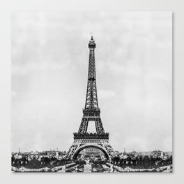 Eiffel tower in B&W with painterly effect Canvas Print