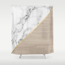 Modern white marble gold stripe wood color block Shower Curtain