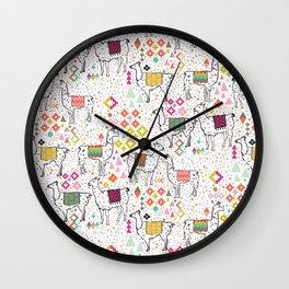 Pink & Inca Llamas Wall Clock
