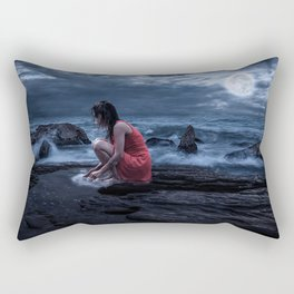 Woman Bathing in the Sea Beneath a Full Moon Rectangular Pillow