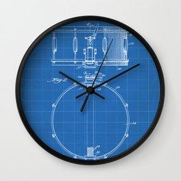 Snare Drum Patent - Drummer Art - Blueprint Wall Clock