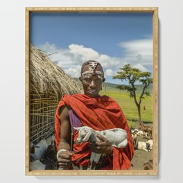 Maasai 4279 Tribesman with Goat Serving Tray