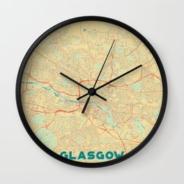 Glasgow Map Retro Wall Clock